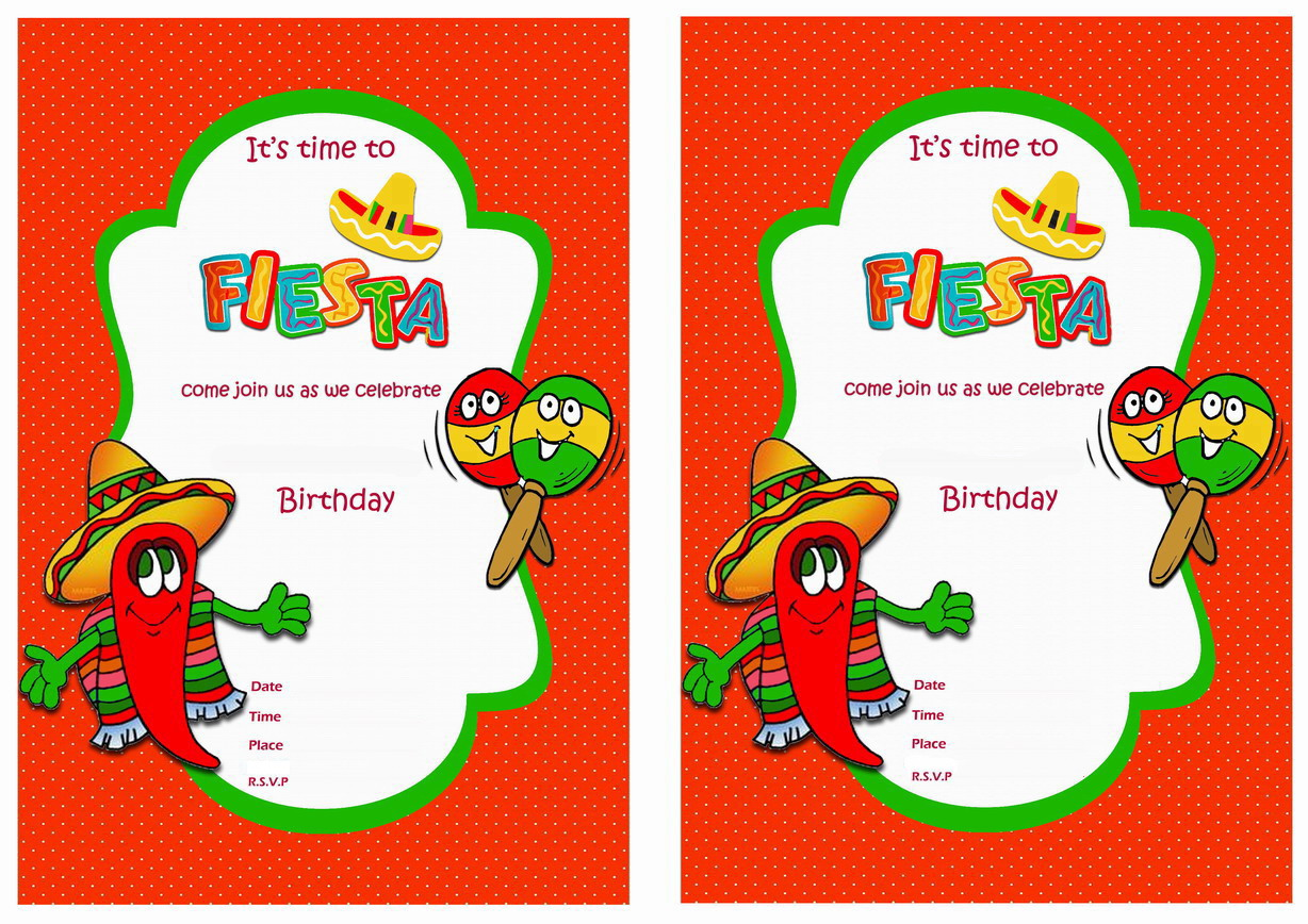 photo regarding Free Printable Fiesta Invitations referred to as Fiesta Mexican Birthday Invites Birthday Printable