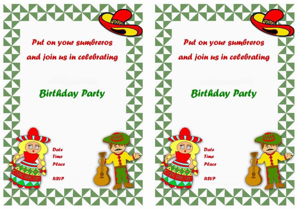 Fiesta Mexican Birthday Invitations Birthday Printable