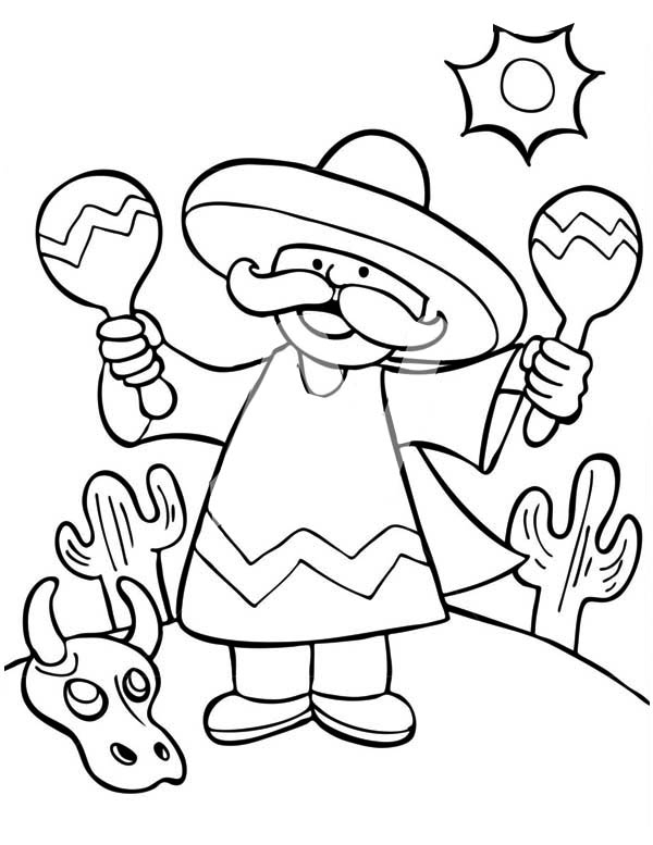 Mexican Maracas Coloring Pages