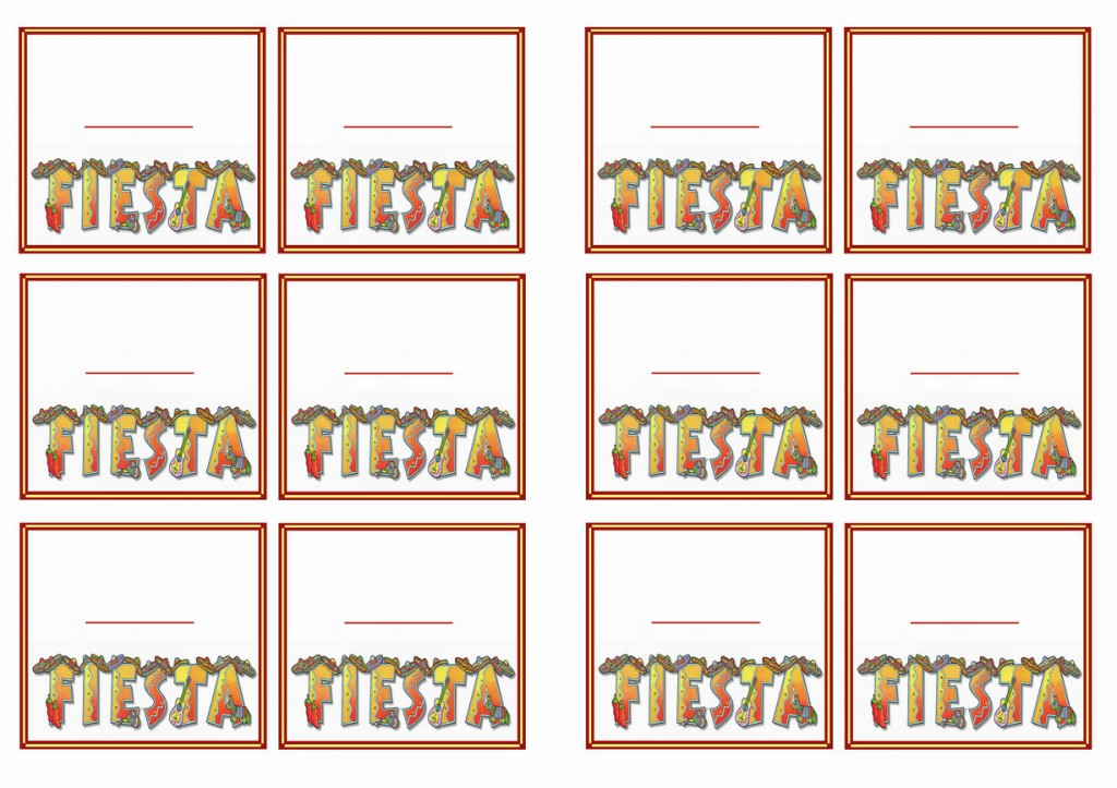 Fiesta Mexican Name Tags Birthday