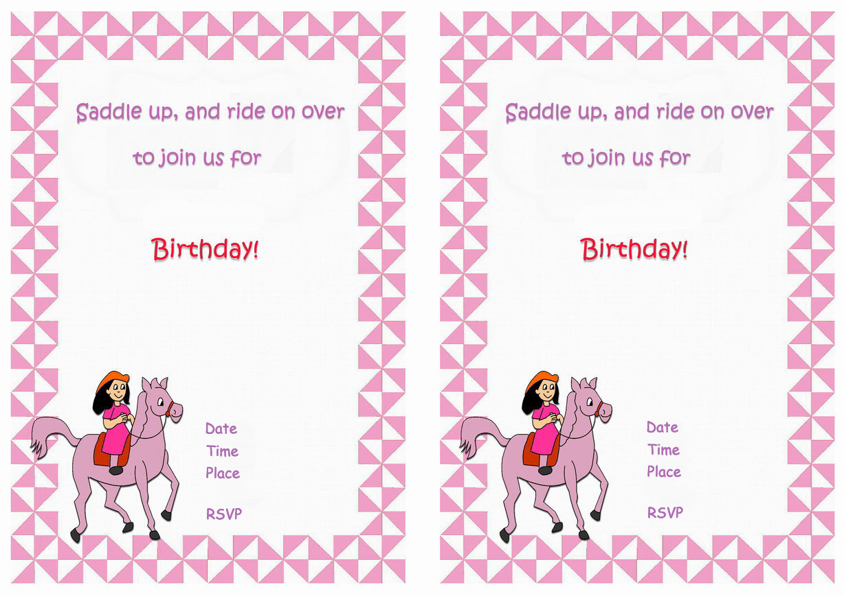Horse Birthday Invitations Birthday Printable
