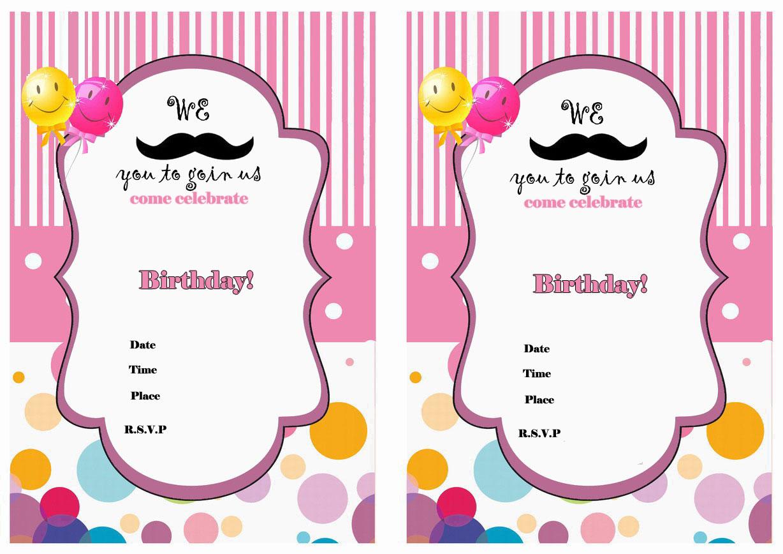 Mustache Birthday Invitations Birthday Printable