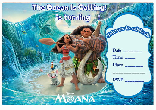 picture regarding Moana Printable Invitations titled Moana Birthday Invites Birthday Printable