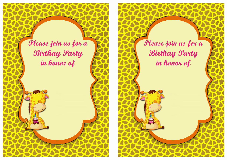 Giraffe Birthday Invitations – Birthday Printable
