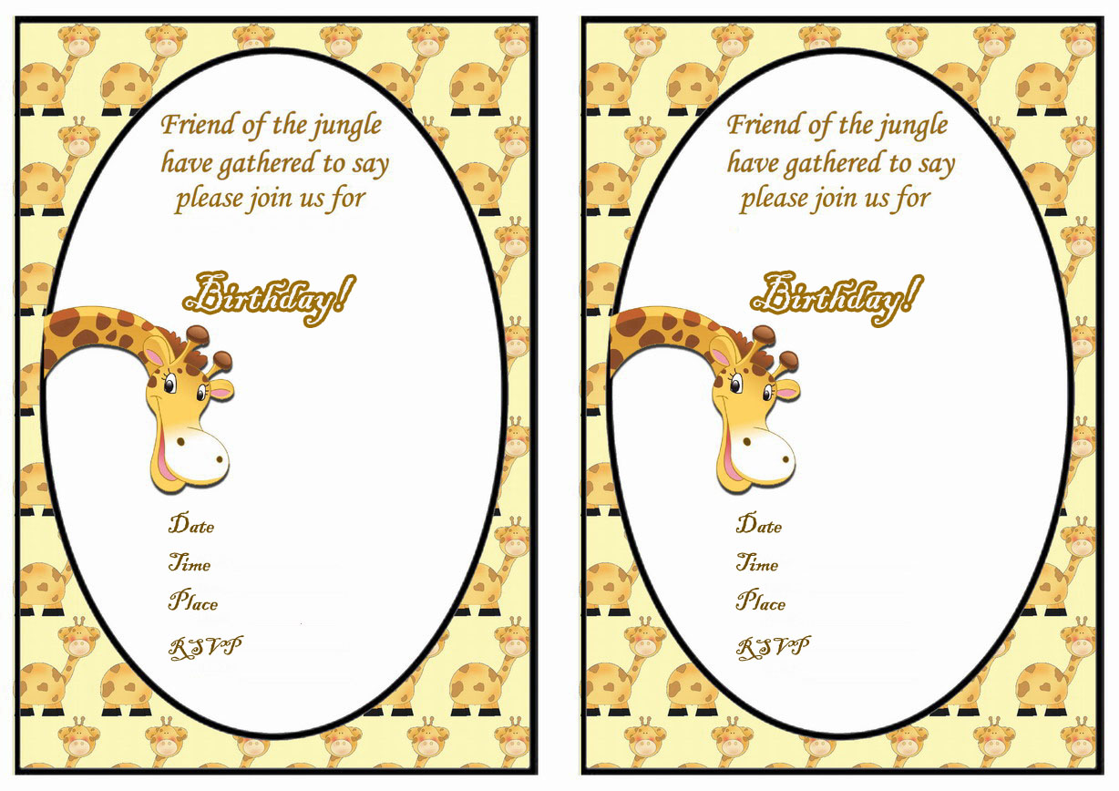 Giraffe Birthday Invitations – Birthday Printable