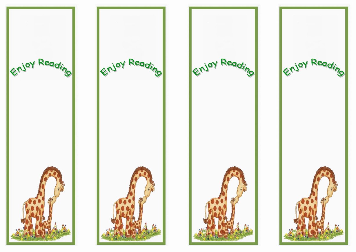 Giraffe Bookmarks Birthday Printable