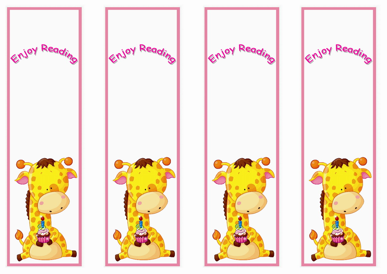 Giraffe Bookmarks Birthday Printable