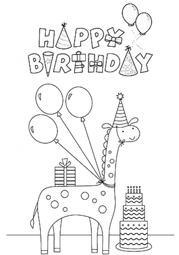 Giraffe Coloring Pages Birthday