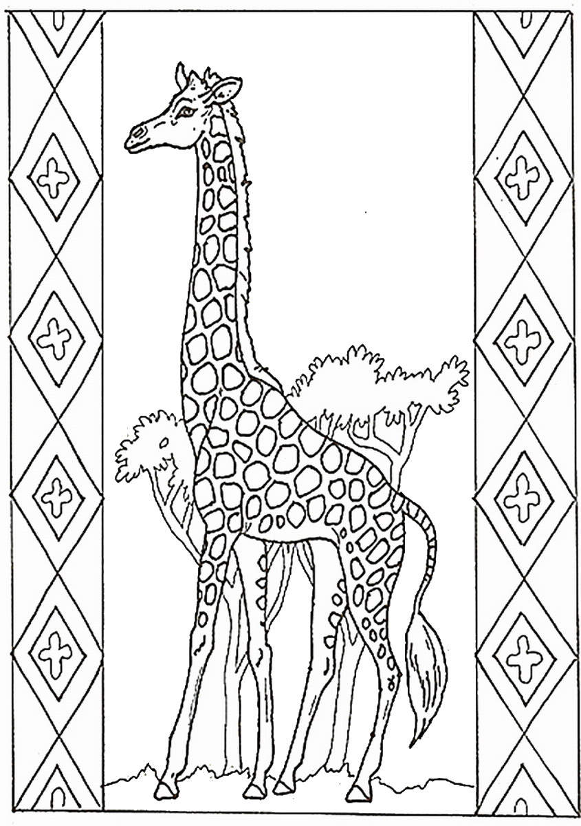 Giraffe coloring pages birthday printable for Giraffe coloring pages to print