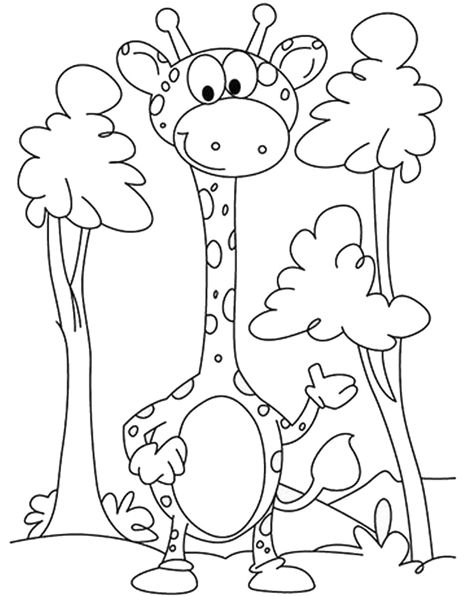 giraffe coloring pages u2013 birthday printable