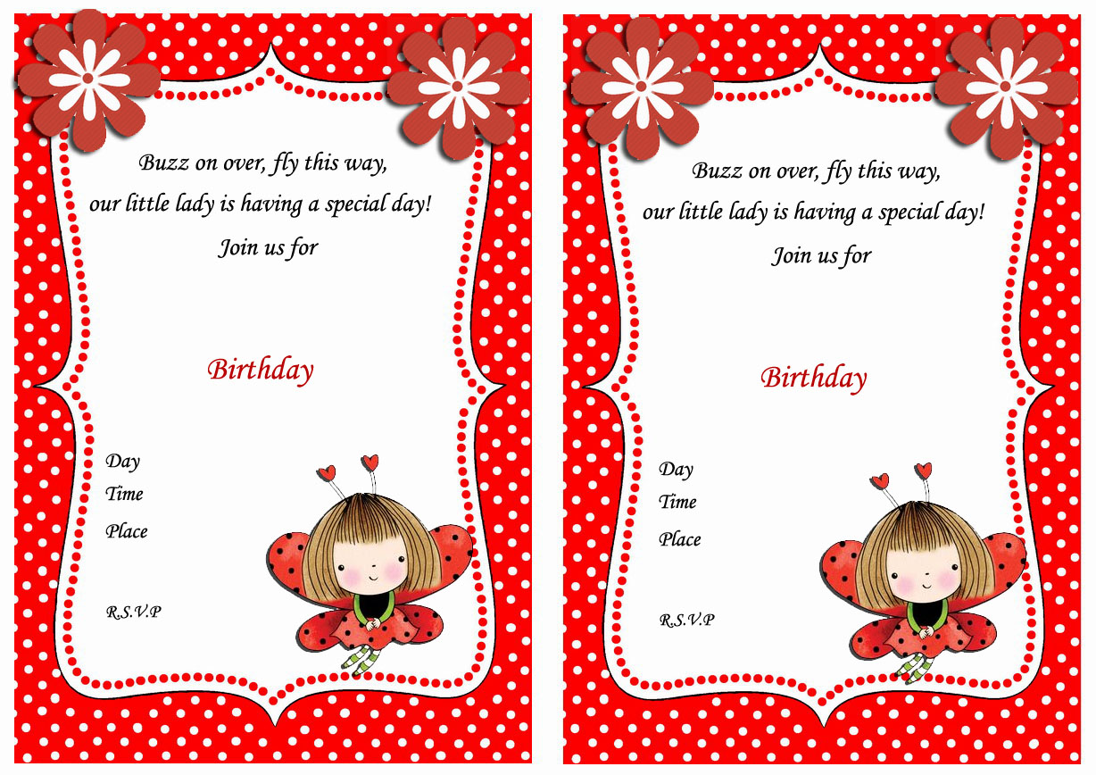 Ladybug Birthday Invitations Birthday Printable