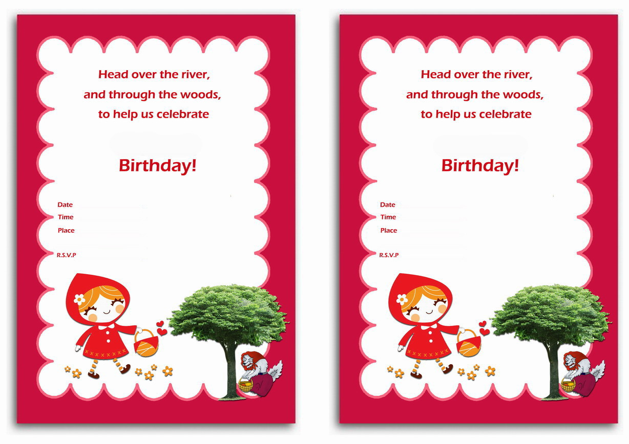 Little Red Riding Hood Birthday Invitations – Birthday Printable