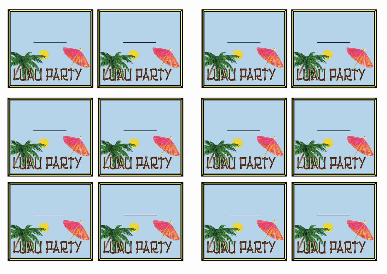 Luau Name Tags Birthday Printable