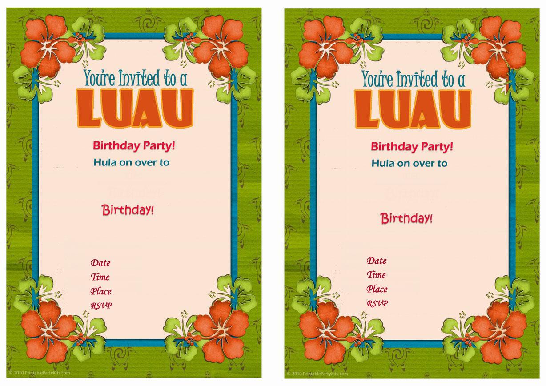 Luau Birthday Invitations Birthday Printable