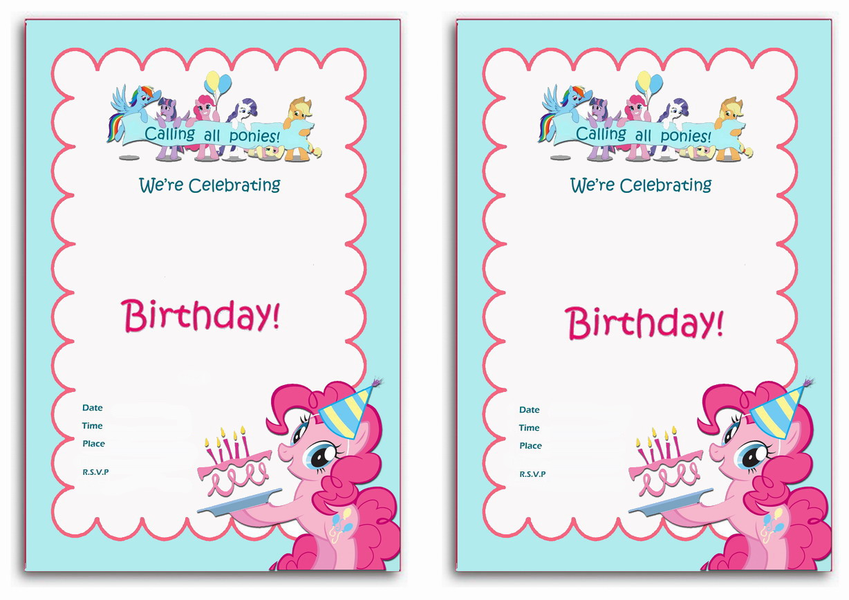Monster image pertaining to free printable my little pony birthday invitations