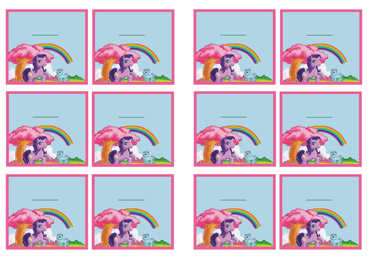 My Little Pony Birthday Printable Name Tags. Click Image Below To Enlarge  And Print