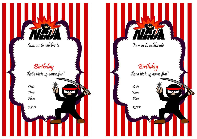 Ninja Warriors Birthday Invitations
