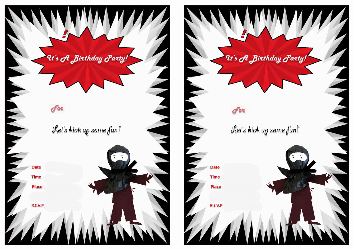 Ninja Warriors Birthday Invitations – Birthday Printable