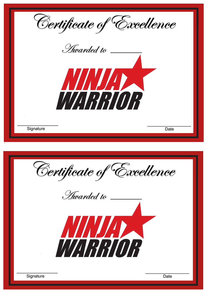 Ninja Warriors Awards Birthday Printable