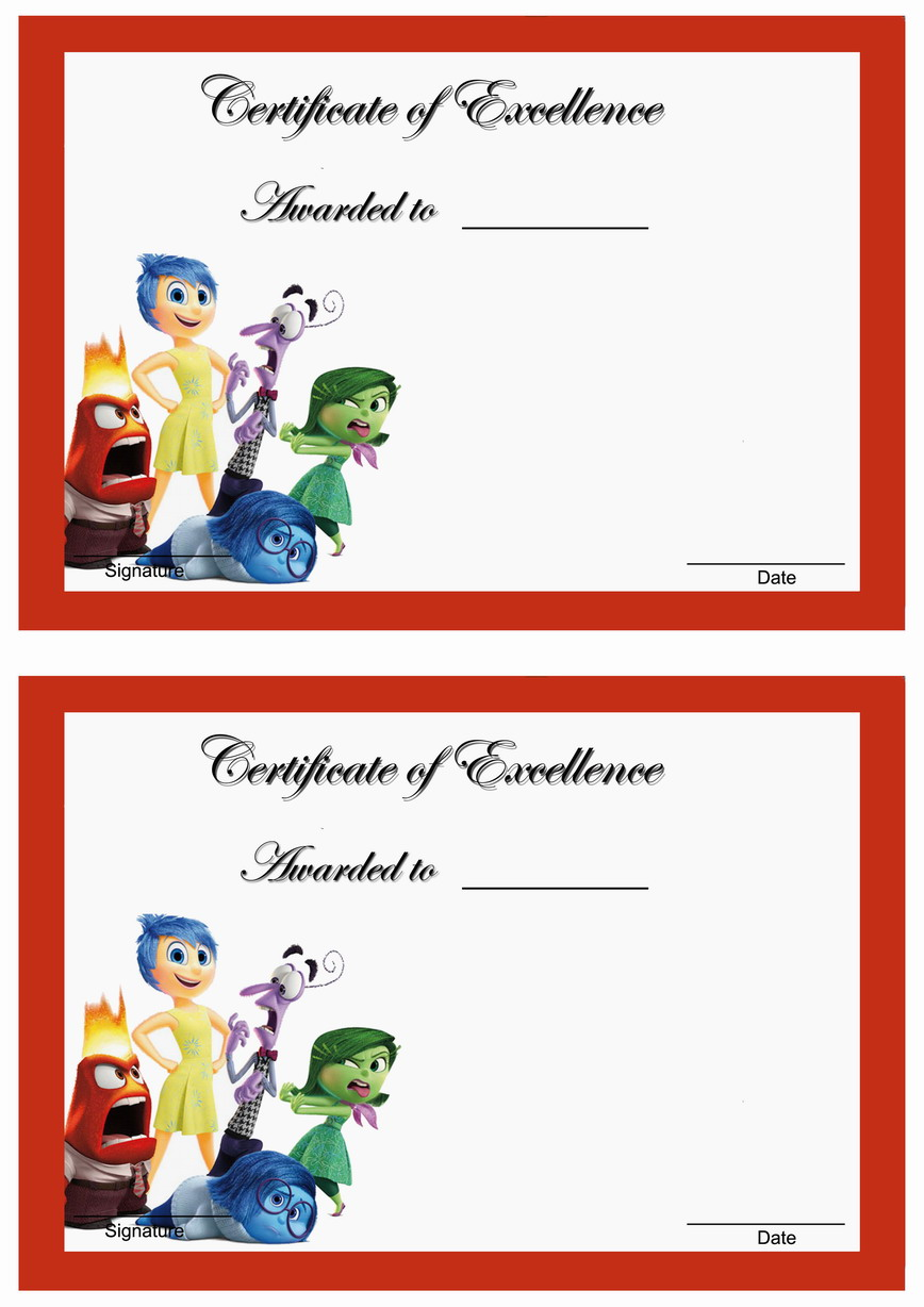 Inside Out Awards Birthday Printable