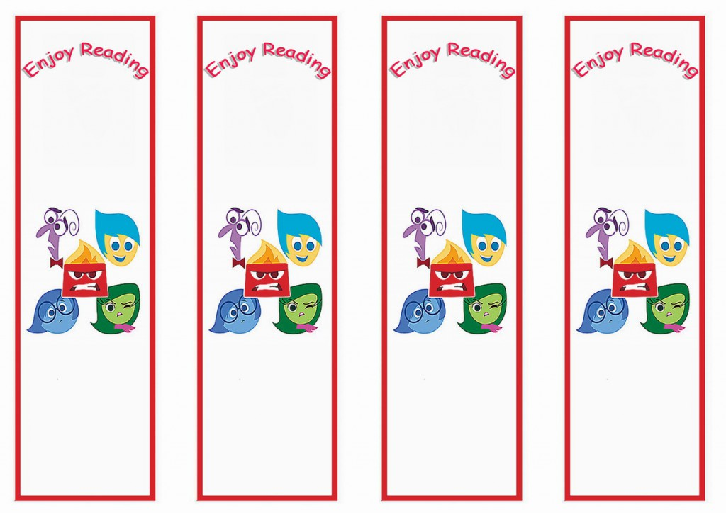Inside Out Bookmarks Birthday Printable