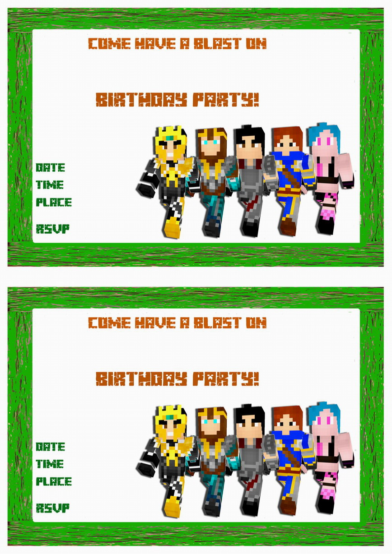 free printable minecraft birthday invitations gallery image