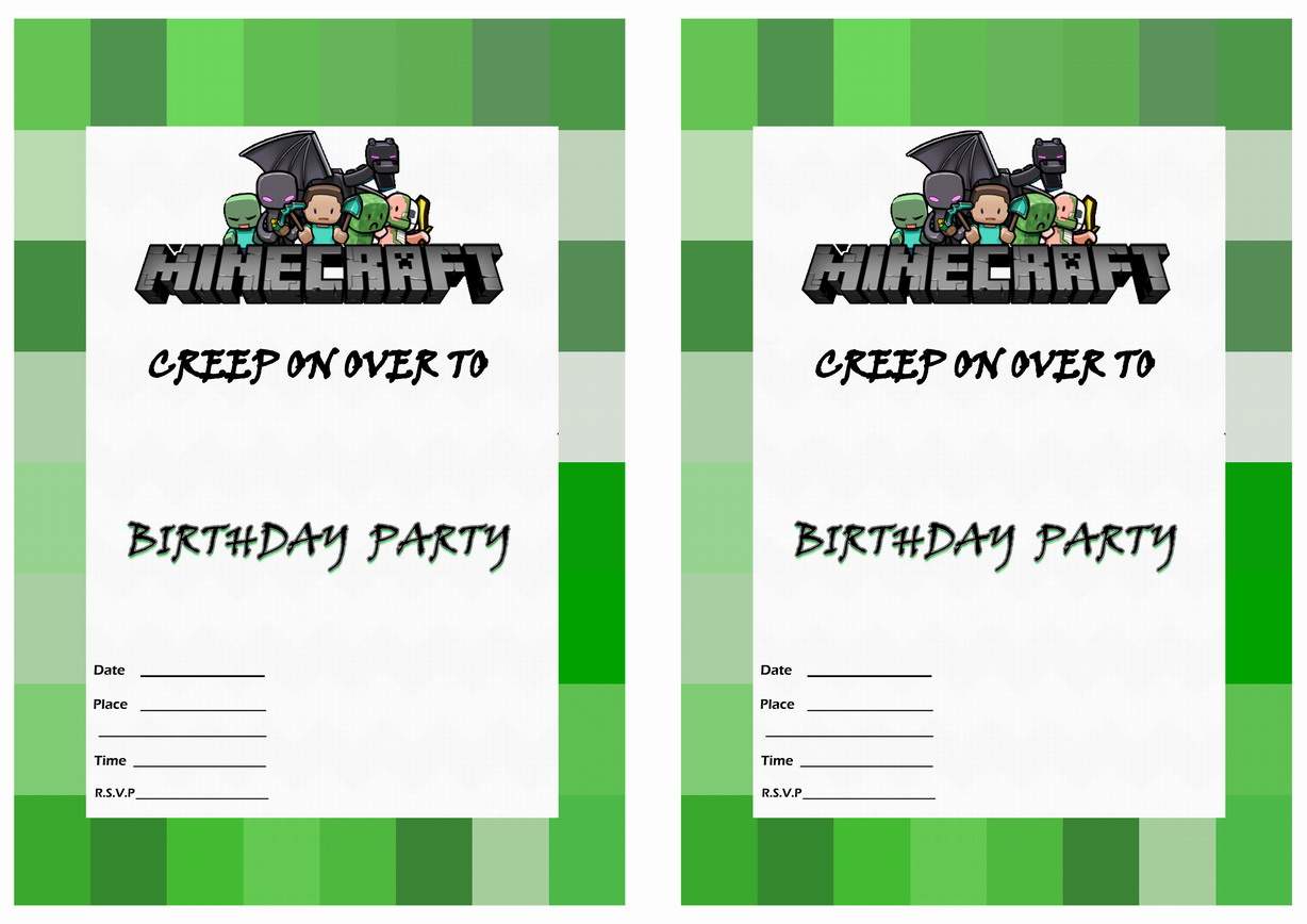 Minecraft Birthday Invitations | Birthday Printable