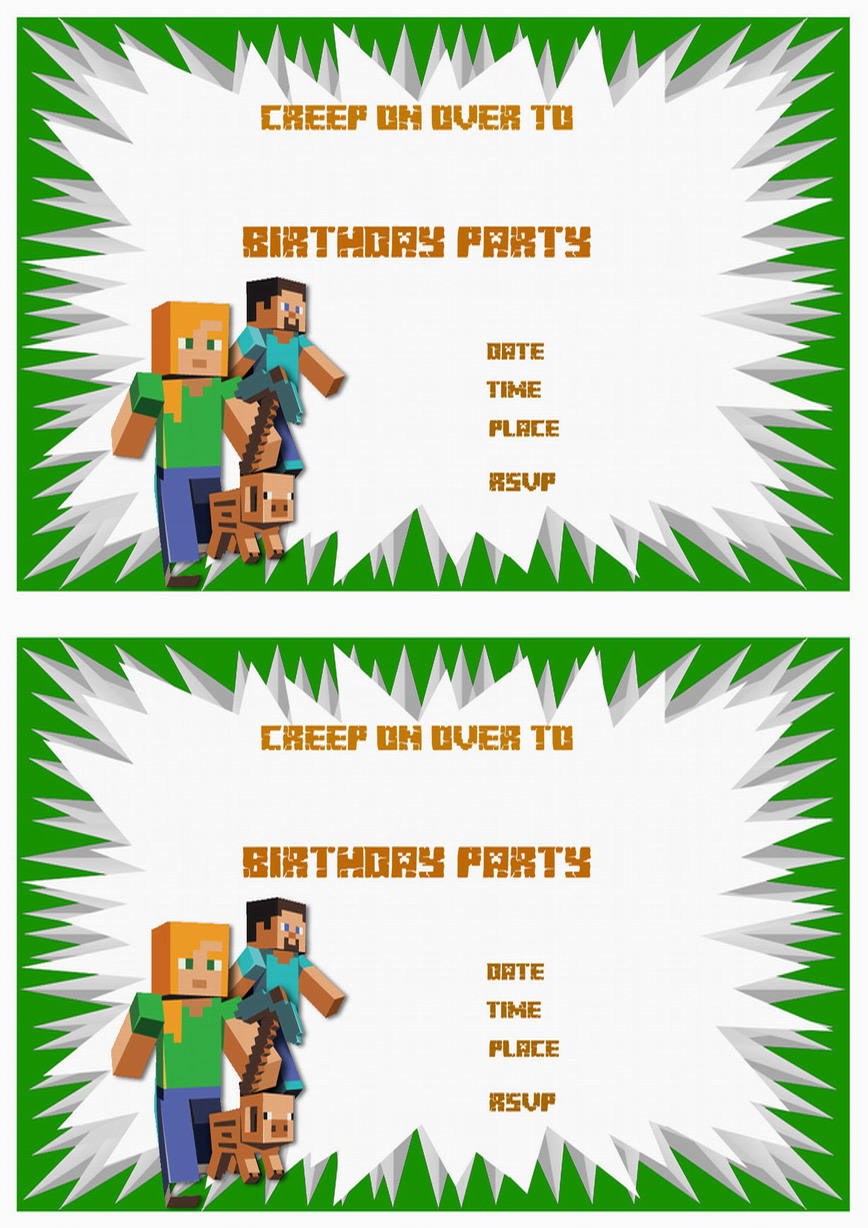 Minecraft Birthday Invitations – Birthday Printable
