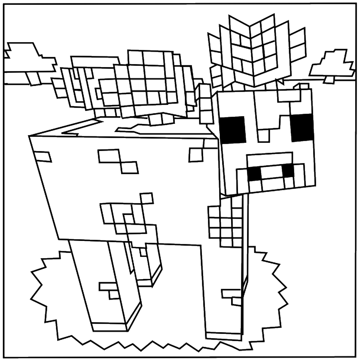This is a picture of Exhilarating Minecraft Coloring Pages Free