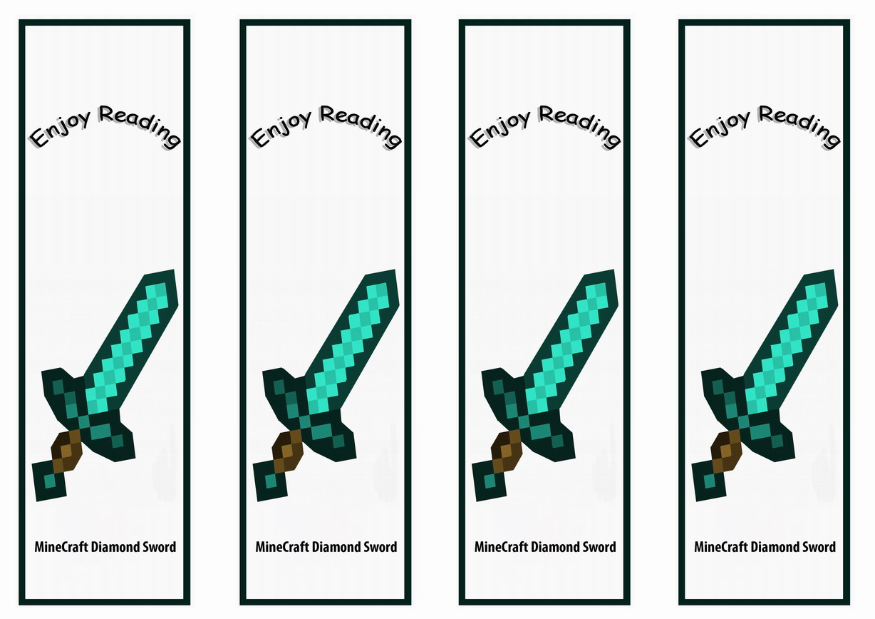 It is a picture of Accomplished Minecraft Bookmarks Printable