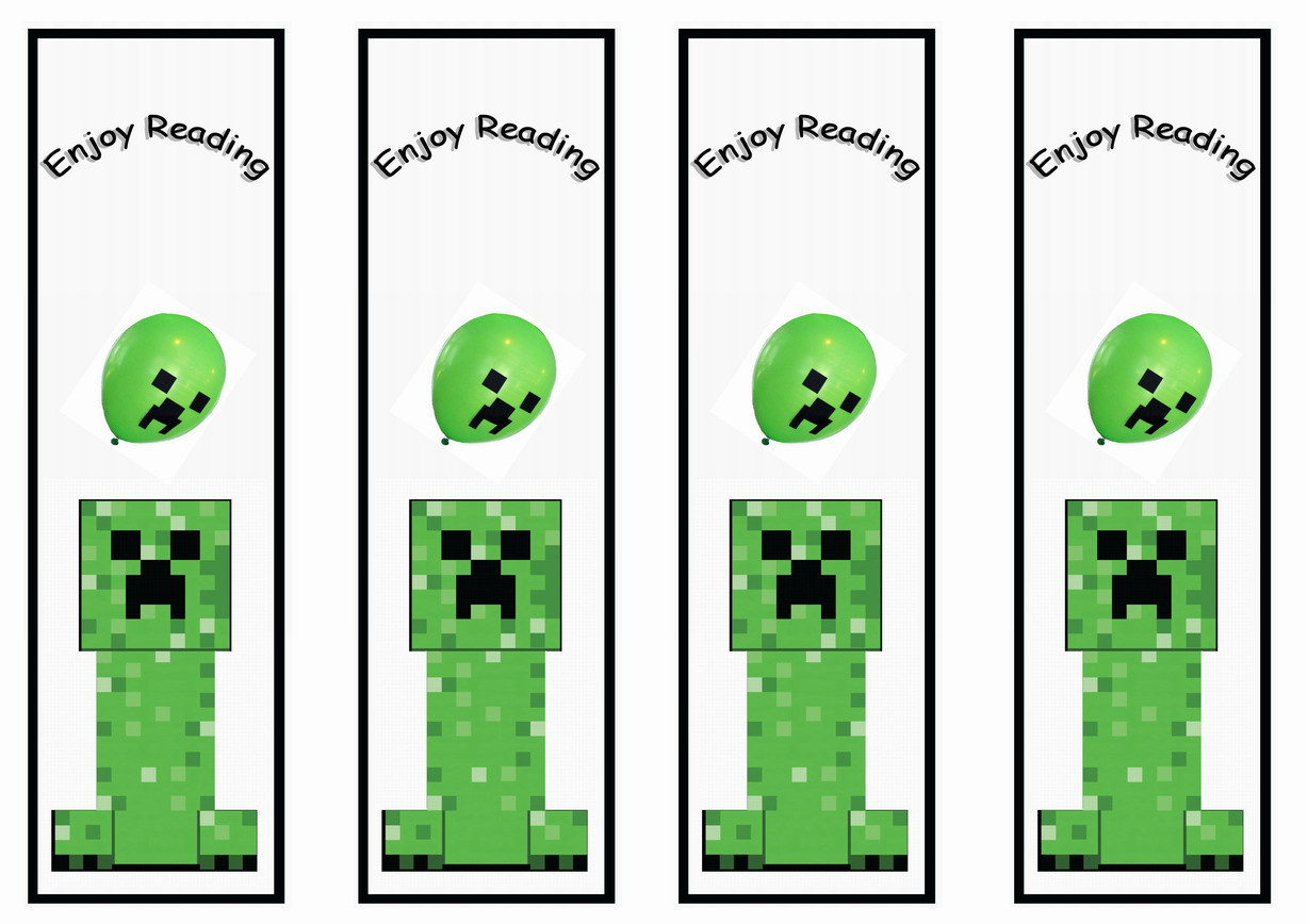 picture relating to Minecraft Bookmarks Printable identified as Minecraft Bookmarks Birthday Printable