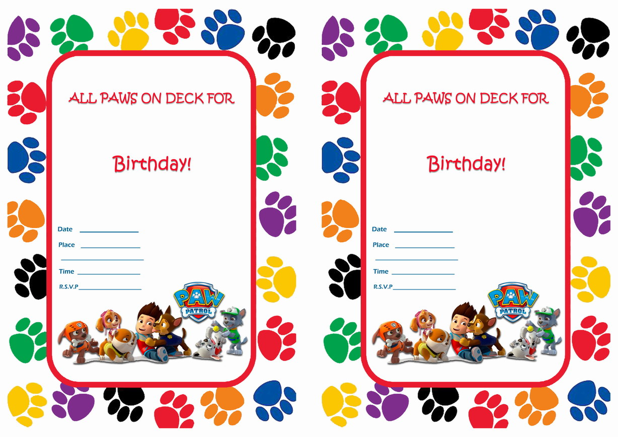 photo regarding Printable Paw Patrol Invitations titled Paw Patrol Birthday Invites Birthday Printable
