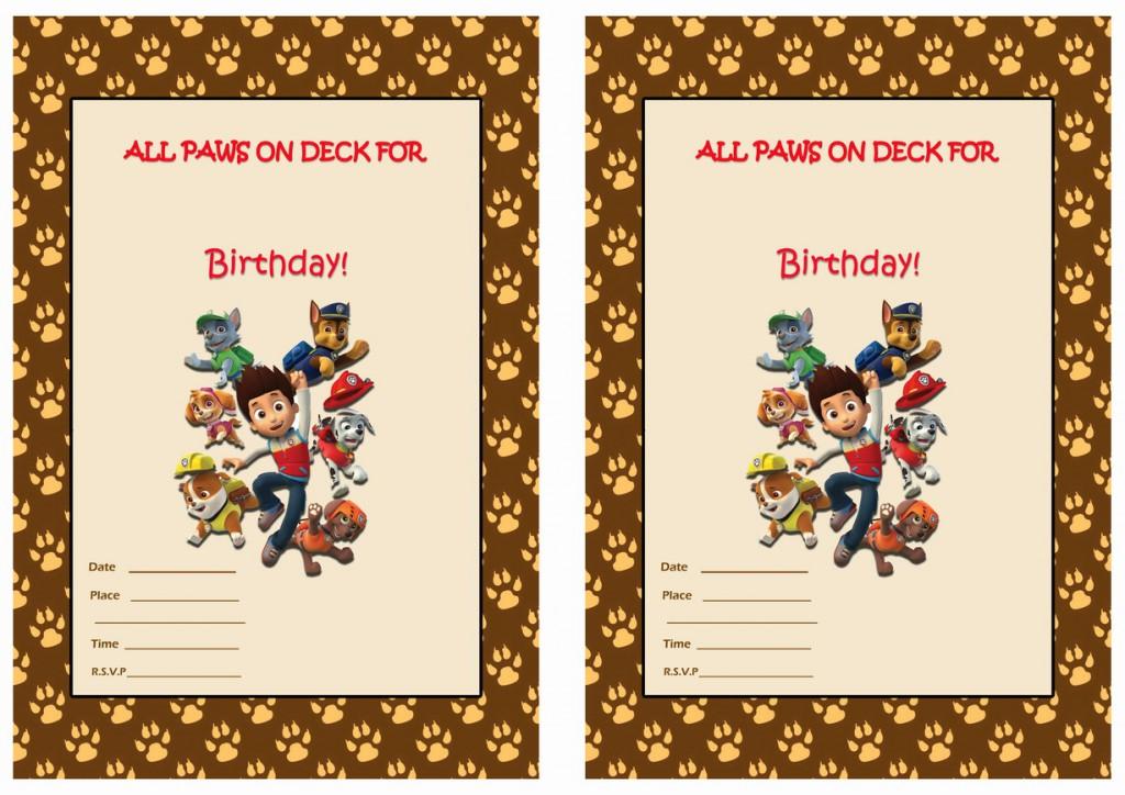 Paw patrol birthday invitations birthday printable for Paw patrol invitation template free