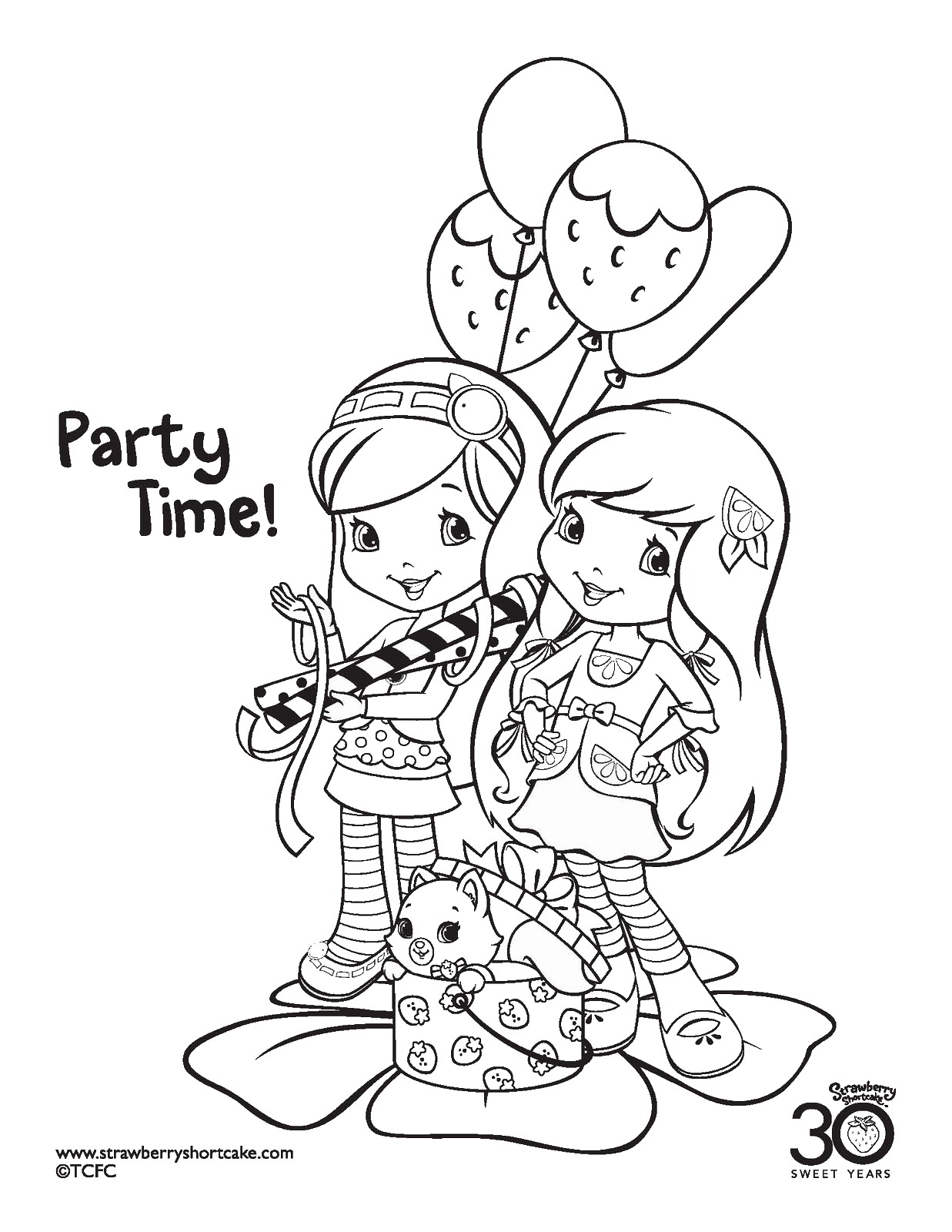 Strawberry shortcake coloring pages birthday printable for Strawberry shortcake birthday coloring pages
