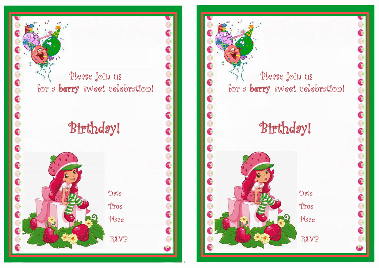 Strawberry shortcake birthday invitations birthday printable strawberry shortcake free birthday invitations filmwisefo