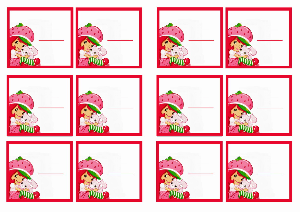 Strawberry Shortcake Name Tags Birthday Printable