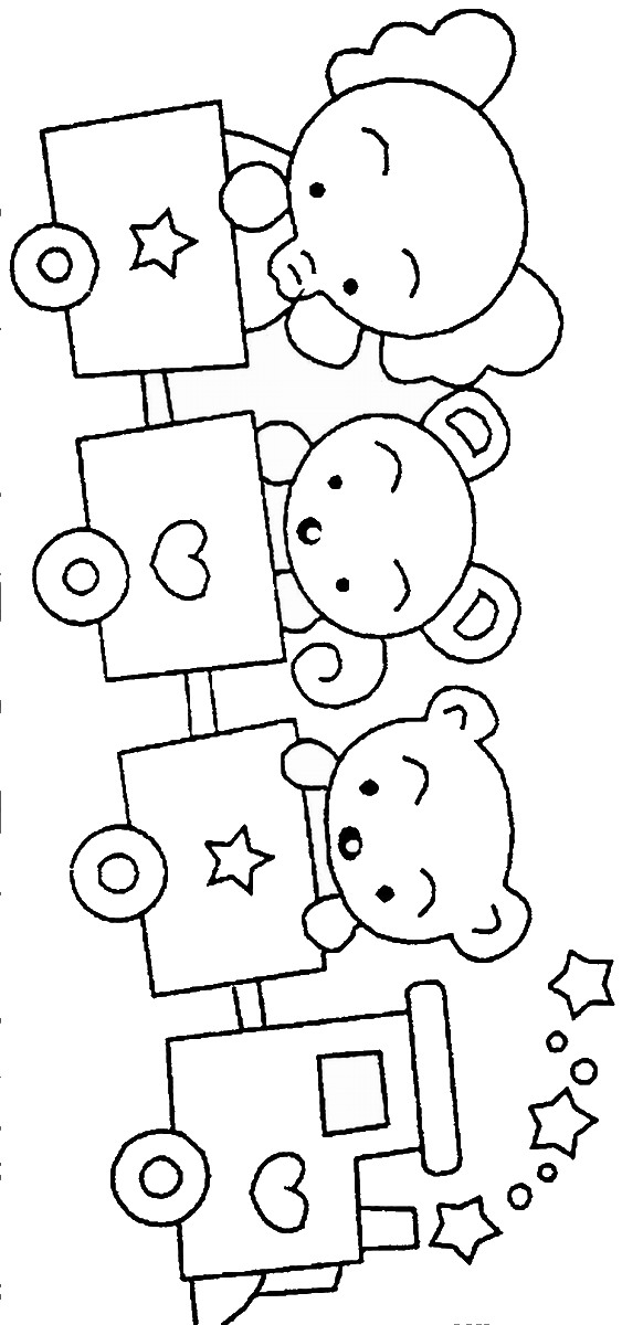 Train Coloring Pages - Birthday Printable