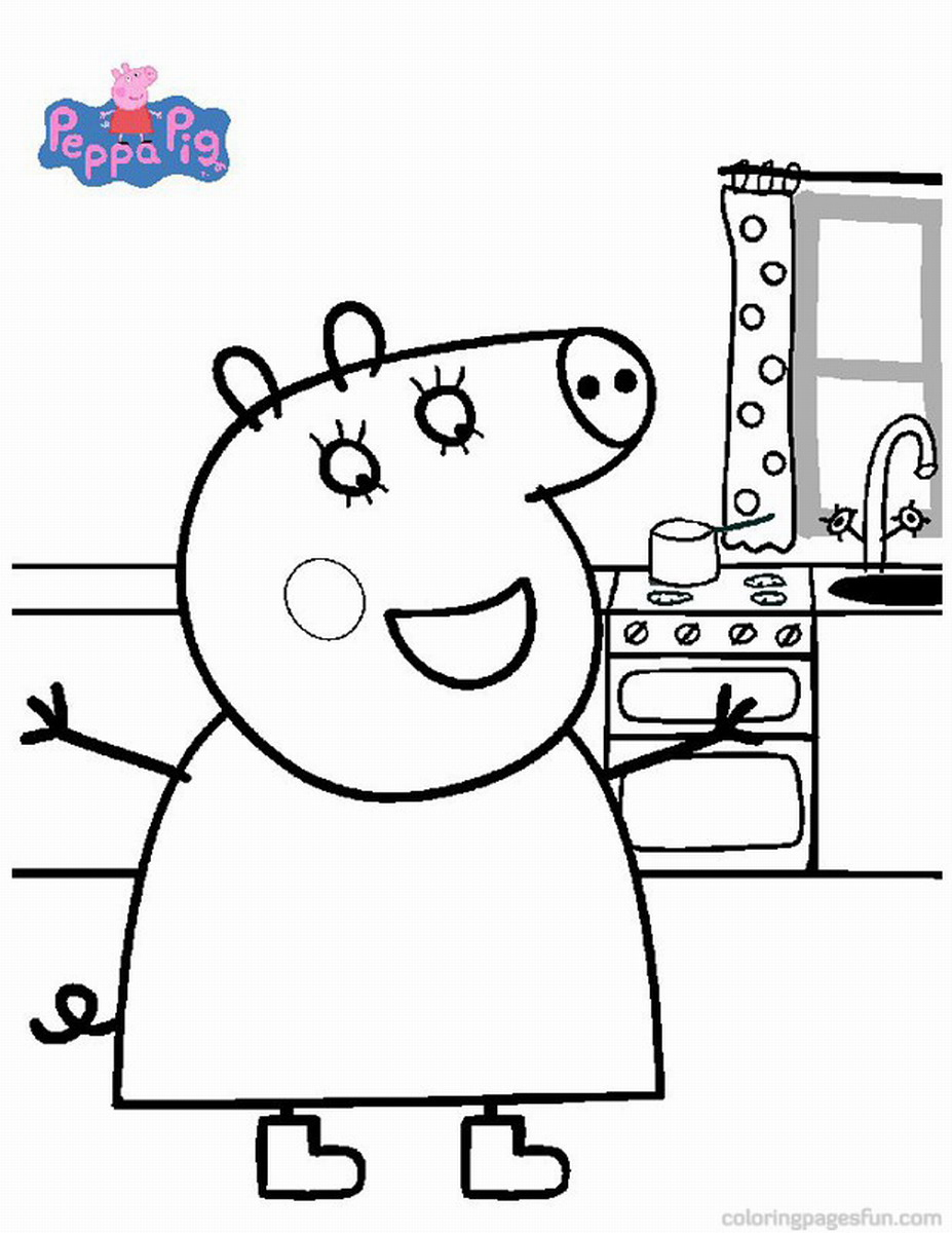 Peppa pig coloring pages birthday printable for Coloring pages peppa pig