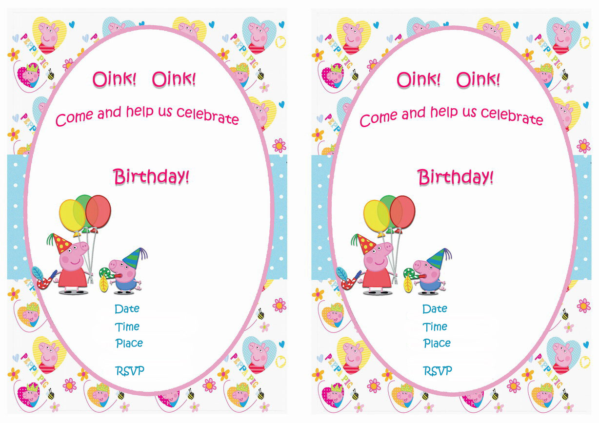 Peppa Pig Birthday Invitations – Birthday Printable
