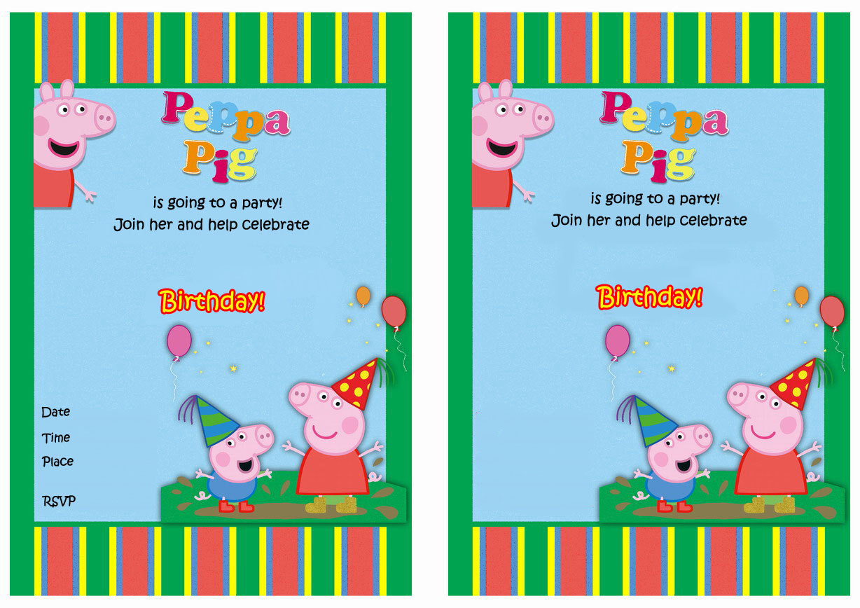 Peppa Pig FREE Printable Birthday Invitations Click Image To Enlarge And Print