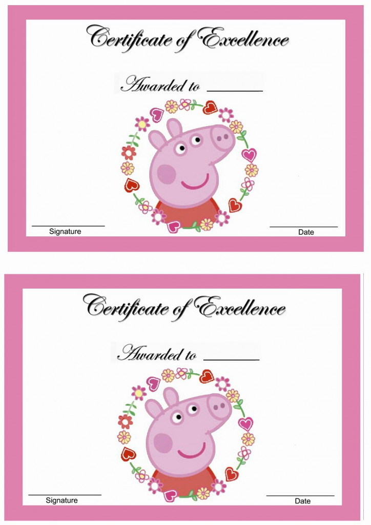 Peppa Pig Awards Birthday Printable