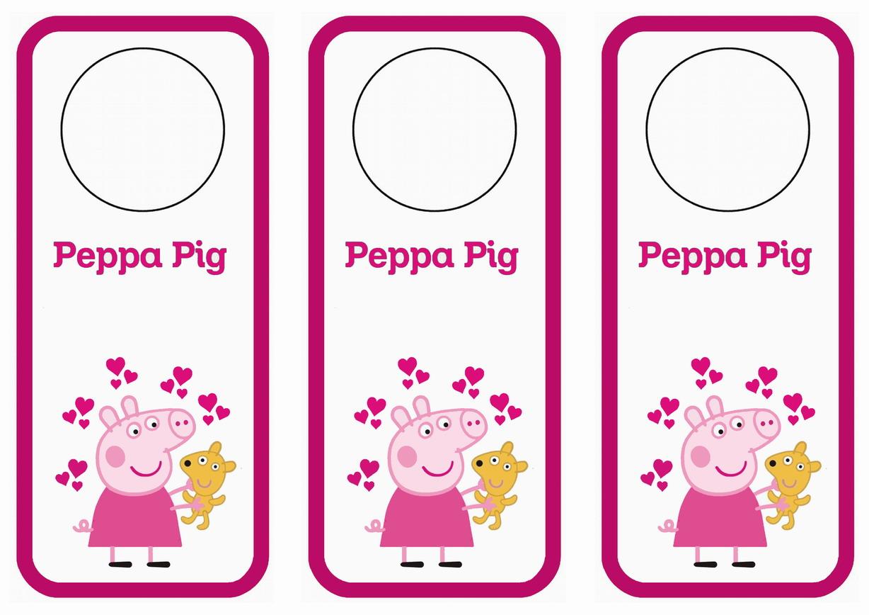 photograph relating to Printable Door Tags named Peppa Pig Doorway Hangers Birthday Printable