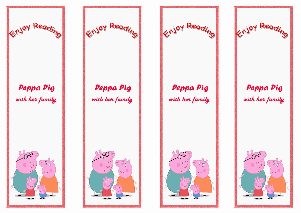 photograph relating to Peppa Pig Printable titled Peppa Pig Bookmarks Birthday Printable