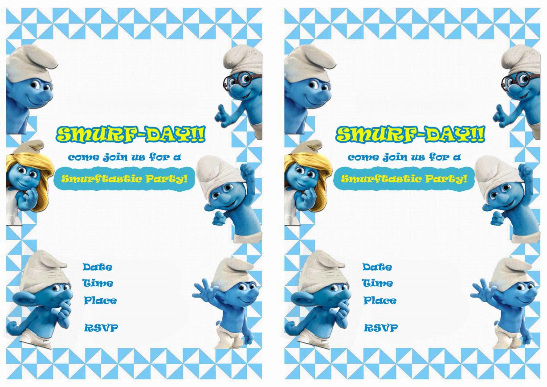 Smurfs Birthday Invitations Birthday
