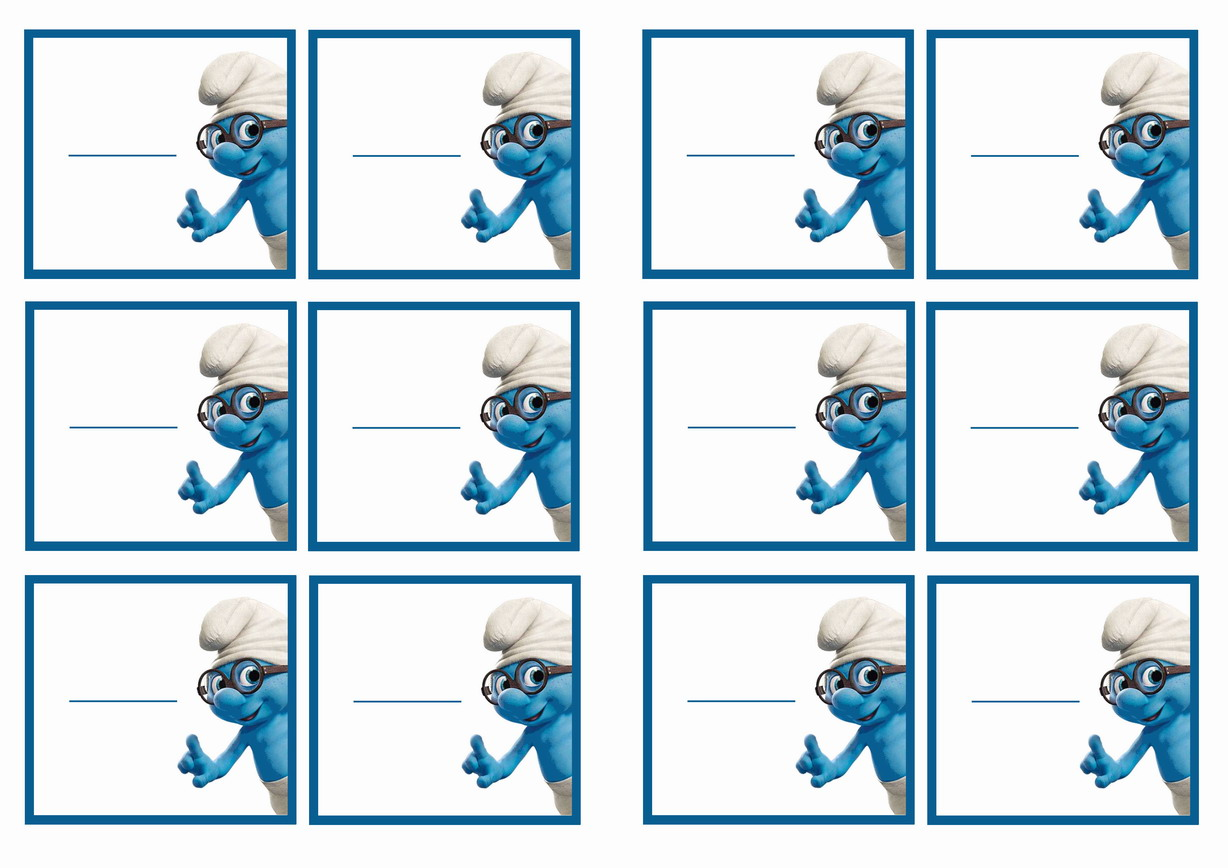 Smurfs Name Tags – Birthday Printable