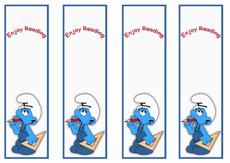 Smurfs Bookmarks Birthday Printable