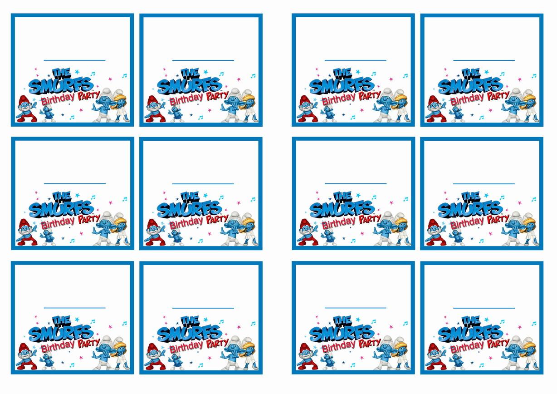 smurfs name tags � birthday printable