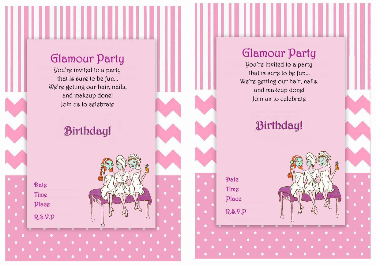 Spa Themed Birthday Invitations – Birthday Printable
