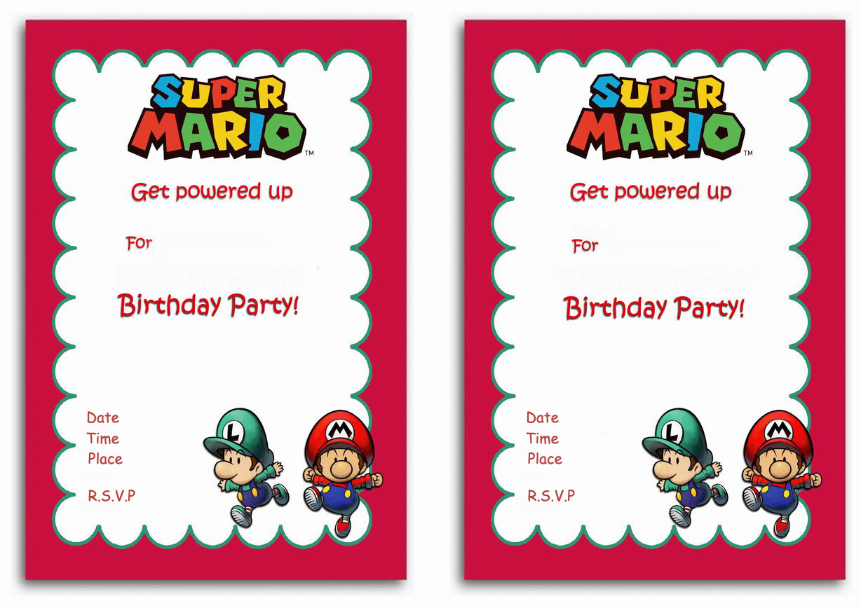 Super Mario Birthday Invitations Birthday Printable