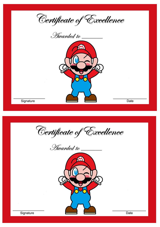 Super Mario Awards Birthday Printable